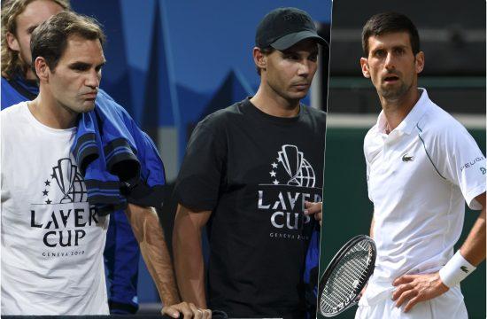 Rodzer Federer i Rafael Nadal Novak Djokovic