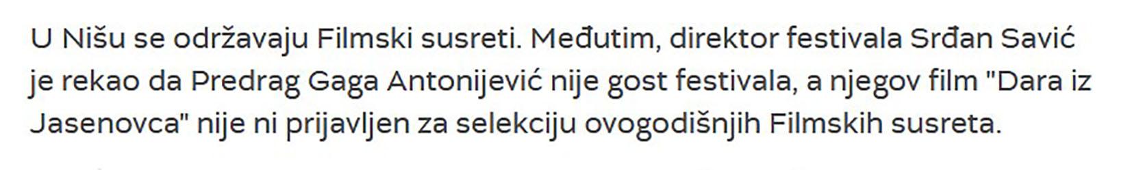 Filmski susreti, Niš, tekst
