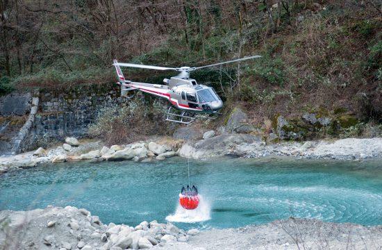 Helikopter, požar, voda Ilustracija