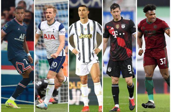 Kilijan Mbape, Hari Kejn, Kristijano Ronaldo, Robert Levandovski, Adame Traorea