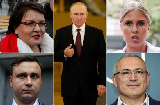 Lyubov Sobol, Yulia Galyamina, Mikhail B. Khdorokovsky, Ivan Zhdanov, Vladimir Putin