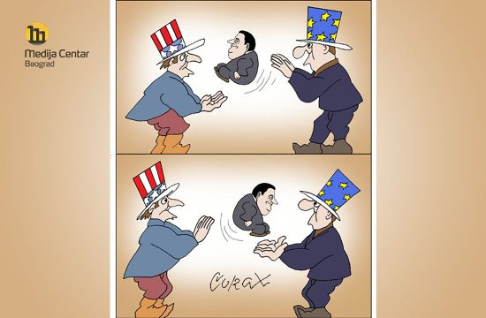 Predrag Koraksić Koraks, Corax za Medija Centar Beograd, karikatura