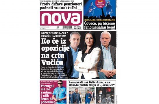 Naslovna strana dnevnih novina Nova za 03. septembar 2021. godine