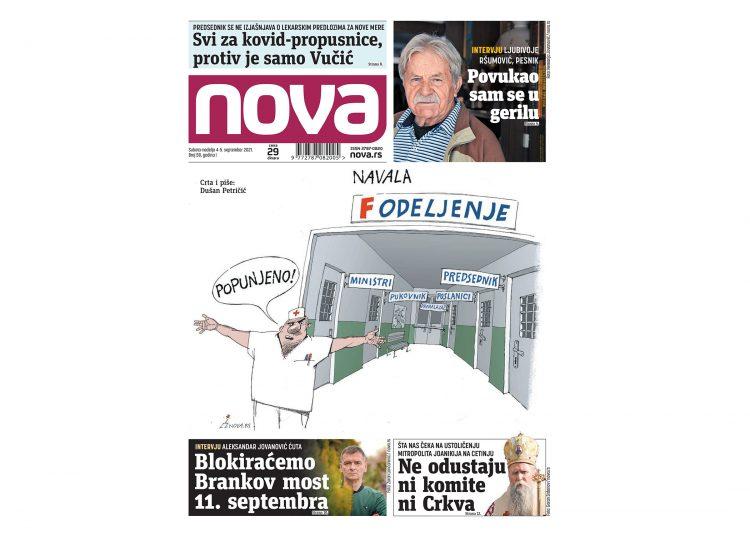 Naslovna strana dnevnih novina Nova