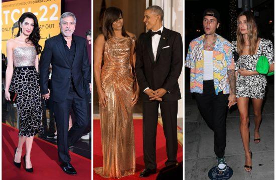 Amal Kluni, Džordž Kluni, Mišel Obama, Barak Obama, Džastin Biber, Hejli Biber, Amal Clooney, George Clooney, Michelle Obama, Barack Obama, Hailey Bieber, Justin Bieber