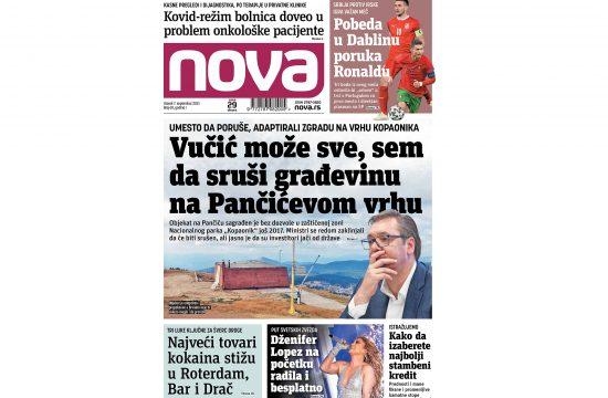 Naslovna strana dvenih novina Nova za 07. septembar 2021. godine