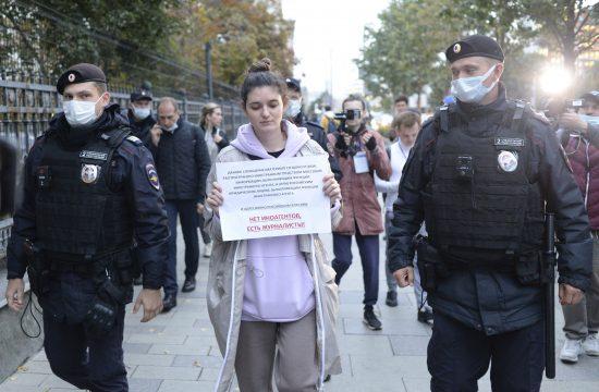 Rusija Moskva hapsenje novinarki