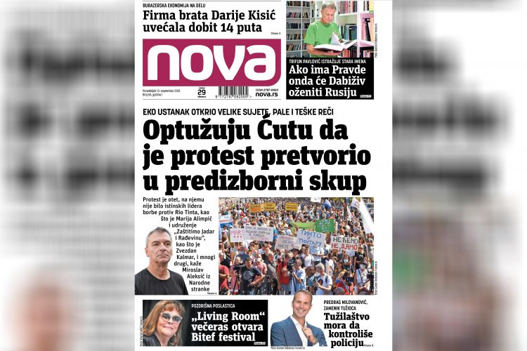 Nova, naslovna za ponedeljak 13. septembar, broj 65, dnevne novine Nova, dnevni list Nova Nova.rs