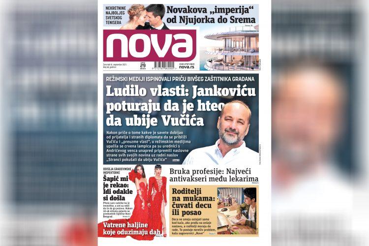 Nova, naslovna za četvrtak 16. septembar, broj 68, dnevne novine Nova, dnevni list Nova