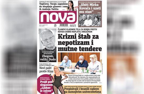 Nova, naslovna za petak17. septembar, broj 69, dnevne novine Nova, dnevni list Nova Nova.rs