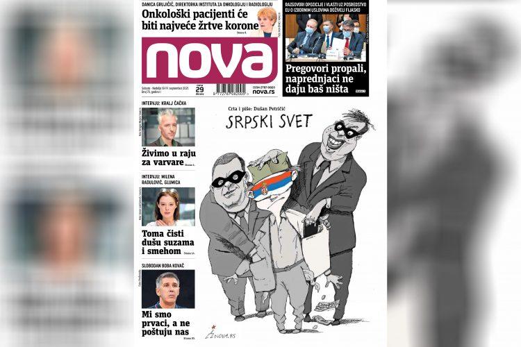 Nova, naslovna za suboti i nedelju 18-19. septembar, vikend broj, broj 70, dnevne novine Nova, dnevni list Nova Nova.rs