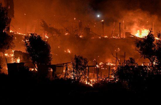 Samos, Grčka, migranti, kamp, požar