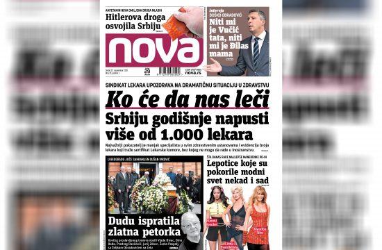 Nova, naslovna za sredu 22. septembar, broj 73, dnevne novine Nova, dnevni list Nova