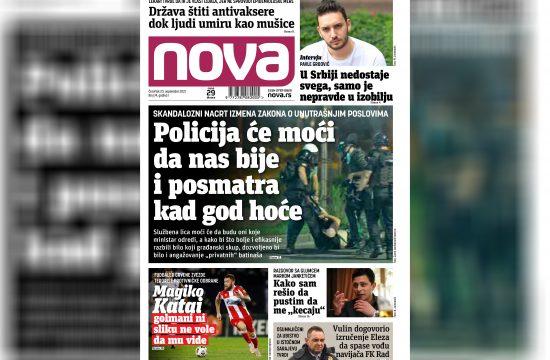 Nova, naslovna za sredu 23. septembar, broj 74, dnevne novine Nova, dnevni list Nova Nova.rs