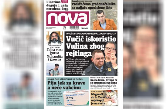 Nova, naslovna za sredu 24. septembar, broj 75, dnevne novine Nova, dnevni list Nova Nova.rs