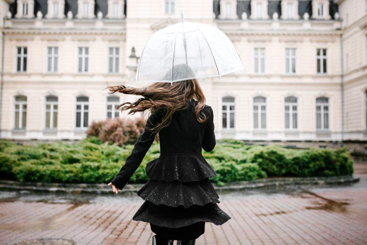 Devojka, leđa, ledja, kišobran, vreme, kiša