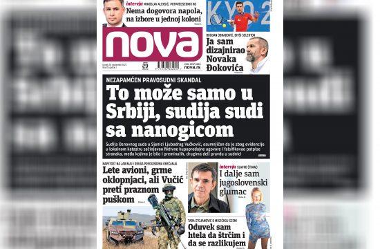 Nova, naslovna za utorak 28. septembar, broj 78, dnevne novine Nova, dnevni list Nova Nova.rs