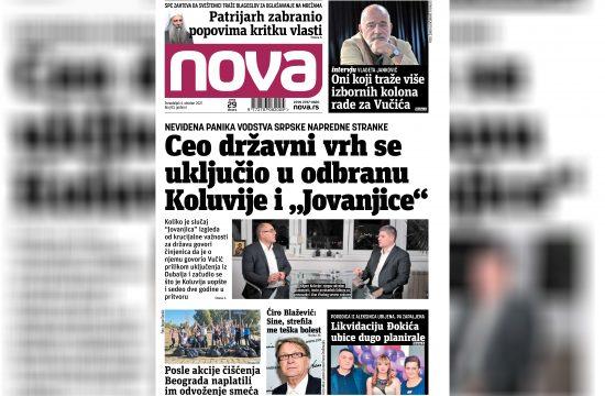 Nova, naslovna za ponedeljak 04. oktobar, broj 83, dnevne novine Nova, dnevni list Nova Nova.rs
