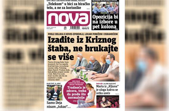 Nova, naslovna za četvrtak 07. oktobar, broj 86, dnevne novine Nova, dnevni list Nova Nova.rs