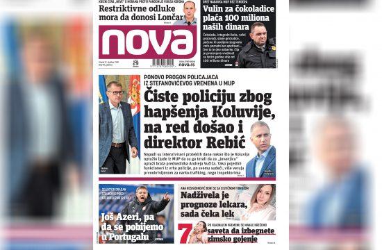Nova, naslovna za utorak, 12. oktobar, broj 90, dnevne novine Nova, dnevni list Nova Nova.rs