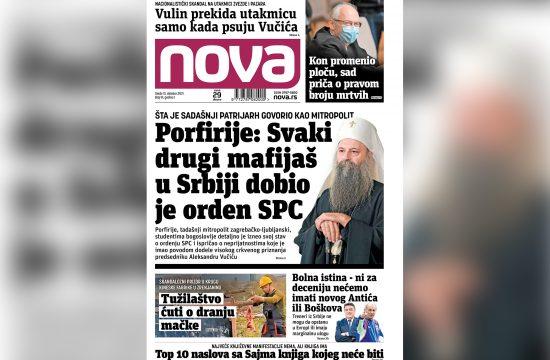 Naslovna strana dnevnih novina Nova za 13 oktobar 2021