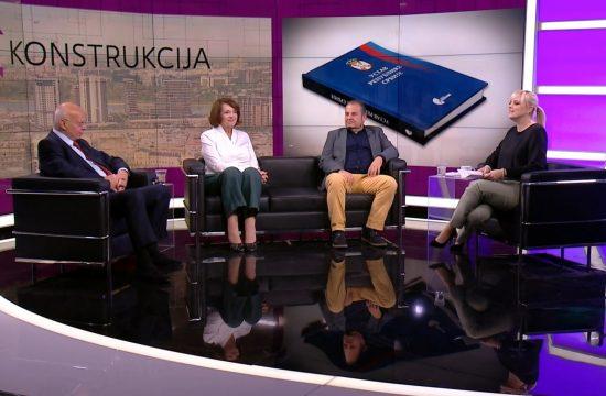 Toma Fila, adovatk, Vesna Rakić Vodinelić, profesorka prava i Miodrag Jovanović, profesor Pravnog fakulteta, gosti, emisija Rekonstrukcija