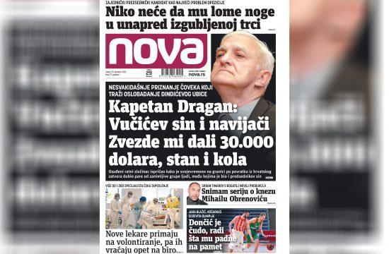 Nova, naslovna za utorak, 20. oktobar, broj 97, dnevne novine Nova, dnevni list Nova Nova.rs