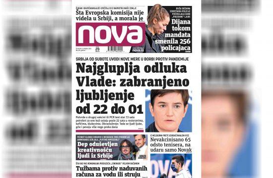 Nova, naslovna za četvrtak, 21. oktobar, broj 98, dnevne novine Nova, dnevni list Nova Nova.rs