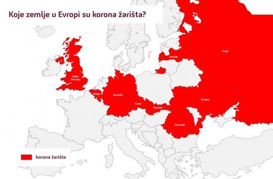 Korona u Evropi, Evropa, mapa, grafika, korona žarišta