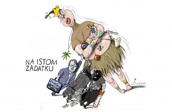 Na istom zadatku. Karikatura Dušan Petričić Nova.rs