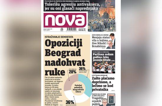 Naslovna strana dnevnih novina Nova za 27 oktobar 2021. godine
