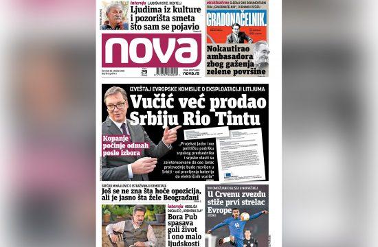 Naslovna strana dnevnih novina Nova za 28. oktobar 2021. godine